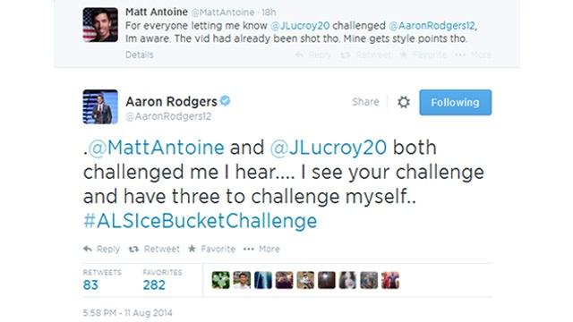 Aaron Rodgers, Matt Antoine take 'Ice Bucket Challenge'