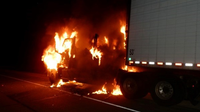 Semi unit starts on fire after driver stops to let dog out