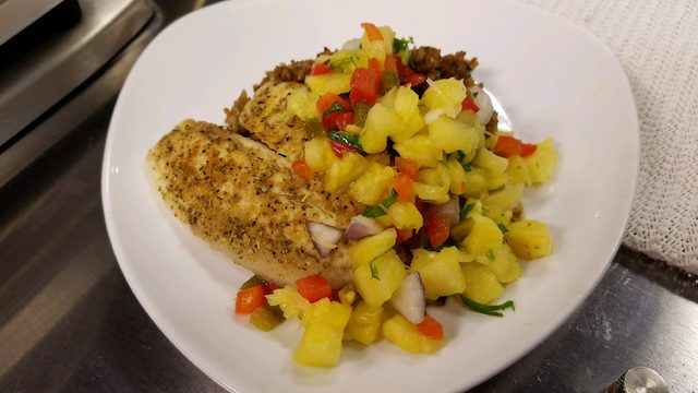 Meals in minutes: seared tilapia with pineapple salsa and seasoned rice