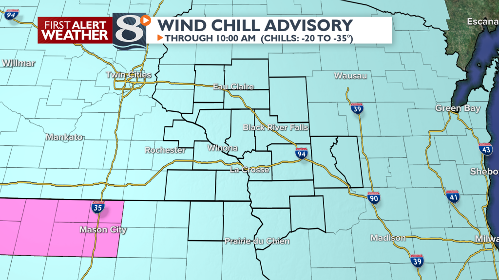 Wind chills of -20 to -35 possible.