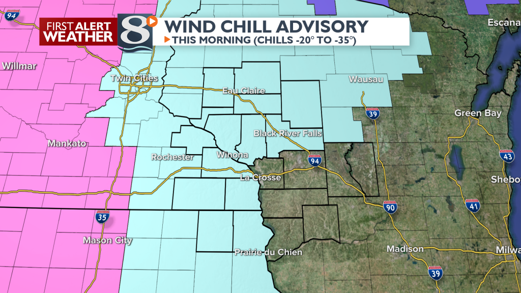 Wind Chills -20 to -35 for some this morning.