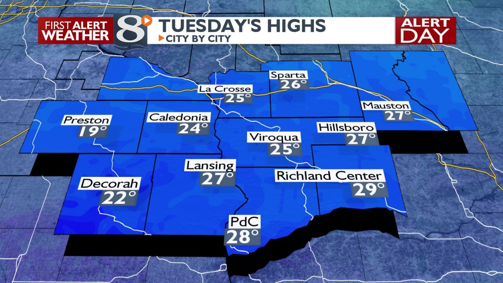 Tomorrow's Highs South