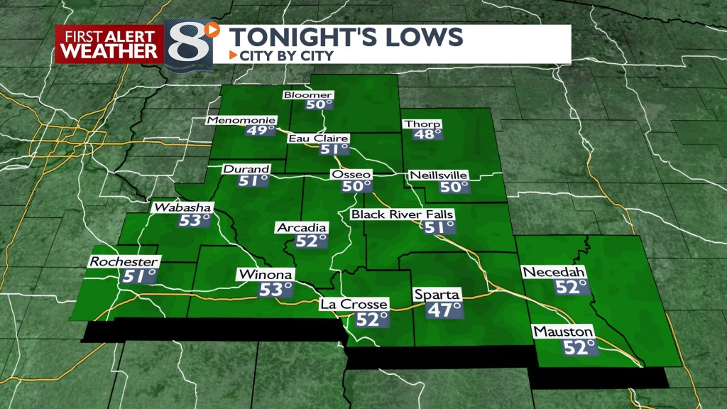 Tonight's Lows North