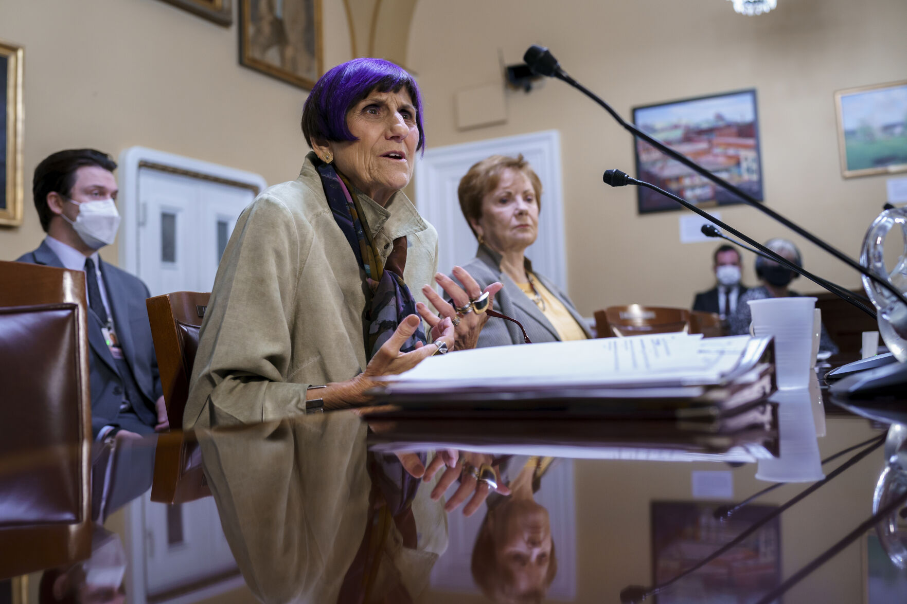 <p>House Appropriations Committee Chair Rosa DeLauro, D-Conn., left, joined by Rep. Kay Granger, R-Texas, the ranking member of Appropriations, appear before the House Rules Committee as they field questions about the politics of the federal debt, at the Capitol in Washington, Tuesday, Sept. 21, 2021. (AP Photo/J. Scott Applewhite)</p>